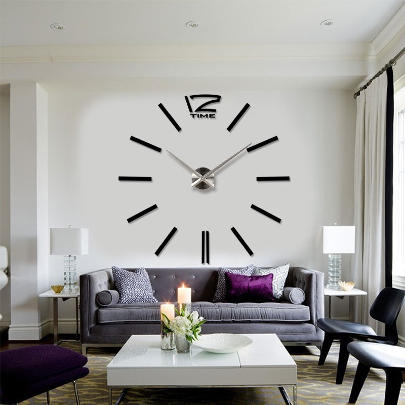 oturma-odasi-3-boyutlu-buyuk-duvar-saatleri Duvar Saati Dekorasyonda Nasıl Kullanılır
