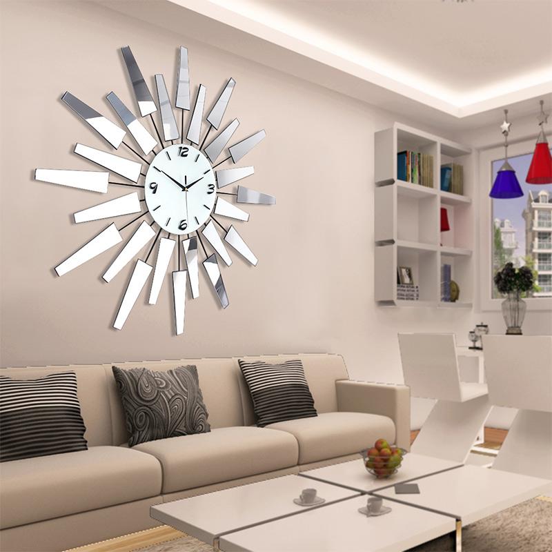 oturma-odasi-3-boyutlu-metal-duvar-saatleri Duvar Saati Dekorasyonda Nasıl Kullanılır