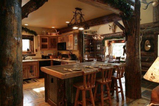 rustik-ahşap-mutfak-dekorasyonu Rustik Mutfak Dolapları