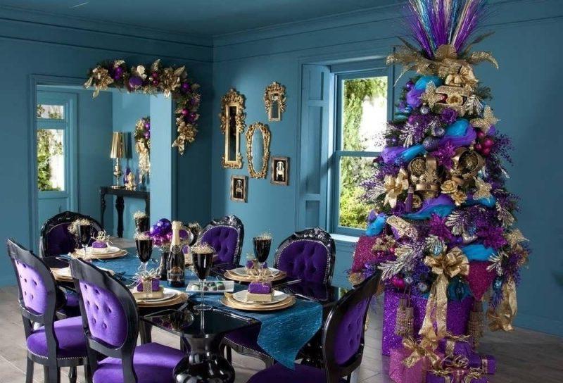 vintage-mor-yemek-odasi-dekorlari Mor Yemek Odası Dekorasyonu Nasıl Yapılır